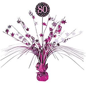 Amscan International - 9901749 45 cm rosa celebración de 80º Centrepiece spray