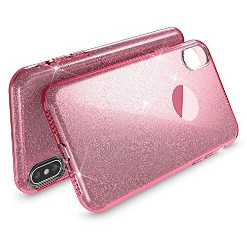 iPhone X Hülle Handyhülle von NICA, Glitzer Ultra-Slim Silikon-Case Back-Cover Schutzhülle, Glitter Sparkle Handy-Tasche Bumper, Dünnes Bling Strass Phone Etui für Apple i-Phone X, Farbe:Türkis Pink