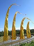 SALE - Bali-Fahne, hellorange mit Gold-Aufdruck 5 Meter