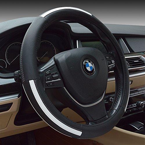 "Preisvergleich Produktbild HCMAX Prämie Fahrzeug Lenkradabdeckung Auto Lenkradschutz Universal Durchmesser 38cm (15 "") Echtleder"