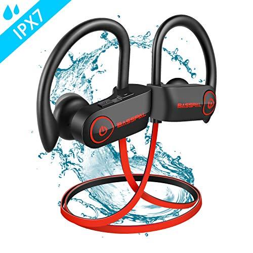 Cuffie Bluetooth, BassPal Impermeabile IPX7 Auricolari sportivi senza fili con microfono, Ricco bassi stereo HD Sweatproof Auricolari per palestra Running Training 9 ore Noise Cancelling