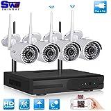 SW Systèmes caméras 4CH WIFI NVR de sécurité sans fil avec 4 Extérieur HD 720P Grand Angle de surveillance CCTV caméra Plug and Play NVR avec 7 Monitor