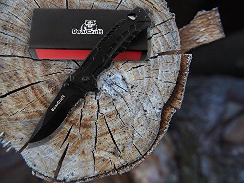 Klappmesser schwarz | Scharfes Outdoor Survival Taschenmesser mit Wellenschliff | Kleines Einhandmesser mit Edelstahlklinge und Aluminiumgehäuse | Einsetzbar für Freizeit, Arbeit, Wandern, Camping oder als Geschenk - 2