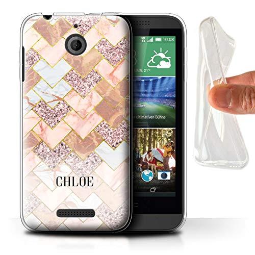 eSwish Personalisiert Individuell Geometrischer Marmor Glitter Gel/TPU Hülle für HTC Desire 510 / Chevron Mosaik Funkeln Design/Initiale/Name/Text Schutzhülle/Case/Etui (Für 510 Case Desire Chevron Htc)