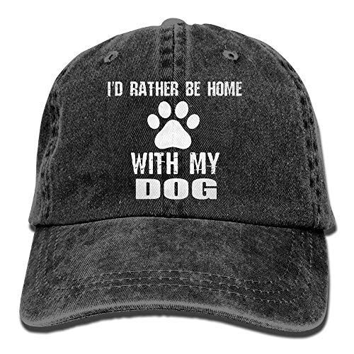 Dsarqwe Men's/Women's I'd Rather Be Home with My Dog Cotton Denim Baseball Cap Adjustable Hat Home Womens Cap