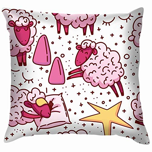 Cute Sheeps Concept Trying Animals Wildlife Alarm Clock Cotton Throw Pillow Case Cushion Cover Home Office Decorative, Square 18X18 Inch