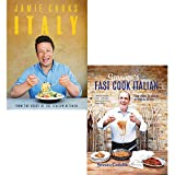 Gennaro's fast cook italian and jamie cooks italy 2 books collection set