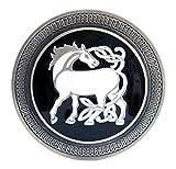 Buckle mit weißem Fantasy- Einhorn, keltisches Motiv - Gürtelschnalle