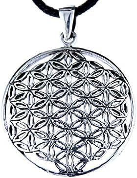 Blume des Lebens Anhänger aus 925 Sterling Silber mit Silberkette 41-66 cm
