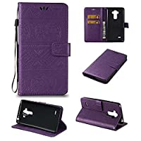 G4 Stylus LS770 / G Stylo Wallet Case ESSTORE-EU Retro Elephant PU Leather Protective Covers with Card Slot Holder Wallet Case for LG G4 Stylus LS770 / LG G Stylo Case, Purple