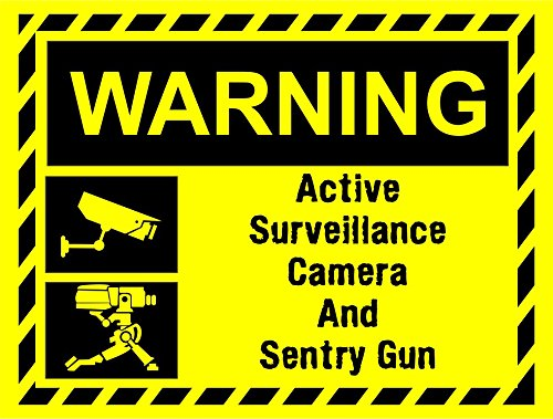 INDIGOS UG - Aufkleber - Sicherheit - Warnung - Video Surveillance Zeichen Sentry Gun Team fortress 2 TF2 inspired Composite ultra hi-durability - 30cmx20cm Büro, Firma, Schule, Hotel, Werkschutz