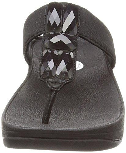 FitFlop Sweetie Toe-post, Sandales Plateforme femme Noir (All Black 090)