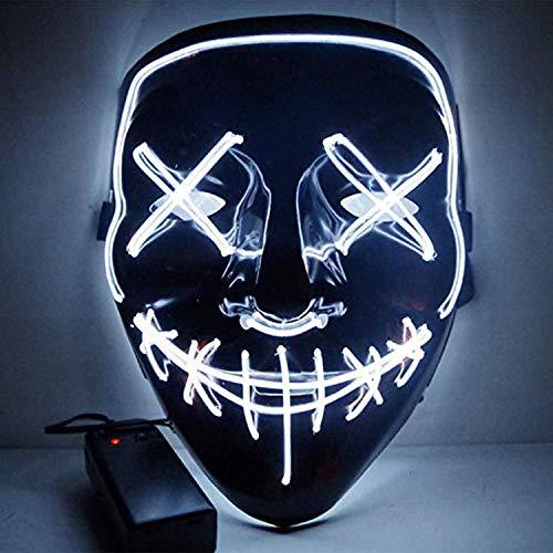 Boodtag Maske mit LED Erschreckend Maske LED leuchten Masken für Erwachsene Für Weihanchten Festival Kanerval Cosplay Halloween Kostüm (Jugendliche Kostüme Haloween Für)