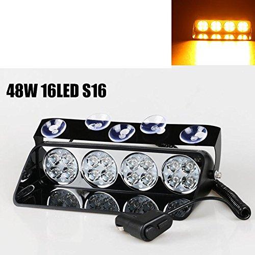 48 W du pont de pare-brise LED strobe lumière S16 Viper de voiture Flash de signal d'urgence le Pompier Police Beacon voyant Ambre