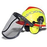 Forsthelm WOODSafe® Gelb/Rot inklusive Gehörschutz, Klappvisier, Nackenschutz - Schutzhelm für Waldarbeiter nach EN 397