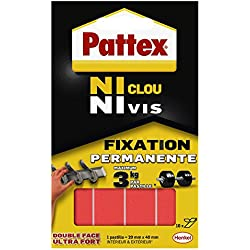 Pattex Pastilles adhésives double face Ni clou ni vis - Fixation ultra forte et extra résistante - 1 x 10 pastilles - 20 mm x 40 mm