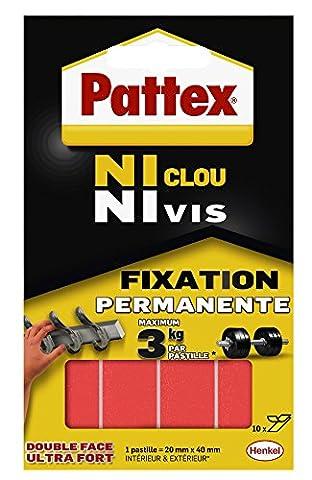 Pattex Pastilles adhésives double face Ni clou ni vis - Fixation ultra forte et extra résistante - 1 x 10 pastilles