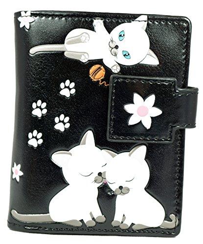 Shagwear Junge-Damen Geldbörse, Small Purse: Verschiedene Farben und Designs: (Verspielte Kätzchen Schwarz/Playful Kittens) (Mädchen Verspieltes)