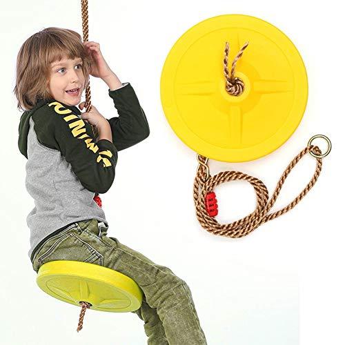 Button Disc oder Disk Swing Seat, Outdoor Indoor Hängeplatte Gelb Kunststoff Swing Disc Spielzeugsitz Gartenspiele Runde wetterfeste Seilspielplatz Garden Play Entertainment-Aktivität für Kinder
