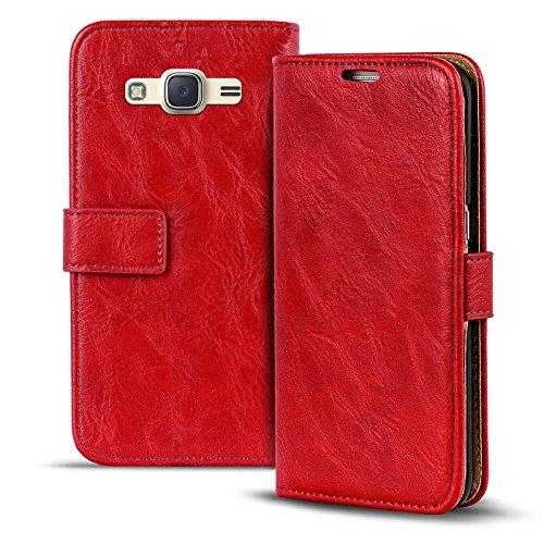 Conie RW30466 Retro Wallet Kompatibel mit Samsung Galaxy J1 2016, Klapphülle Tasche Vintage Leder Design für Galaxy J1 2016 Etui mit Kartenfächer Vintage Rot