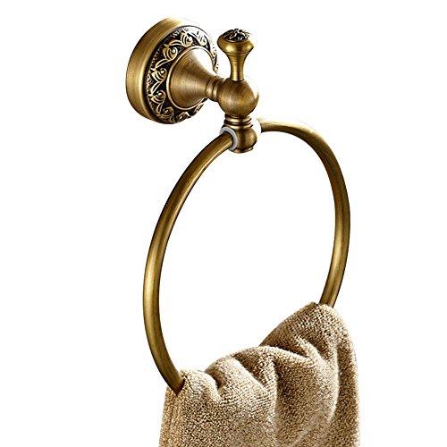 CASEWIND Handtuchring zum Bohren Wandmontieren, alle Messing Bildung Europäisch Antik Stil mit Dekorativ Rund Boden für Dusche Küche, Handtuchhalter - Messing Europäischen Handtuchring