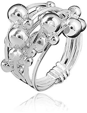 MATERIA Schmuck 925 Silber Ring Kugel 8,1g - Damen Ring breit bewegliche Kugeln - Größe: 16 - 20 mm inkl. Holz...