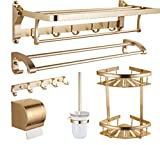 BIANJESUS Towel Rail Bathroom Shelf Wall Mounted Bathroom Shelf Set Gold Space Aluminum Dressing Table Top Organizer Kitchen Living Room Storage Rack Double Layer Holder