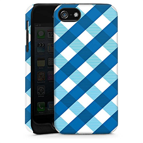 Apple iPhone 5s Housse Étui Protection Coque Carreau Bleu Bleu Cas Tough brillant