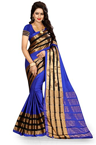 J B Fashion Women's Cotton Jaqard Blue color Saree for women With...