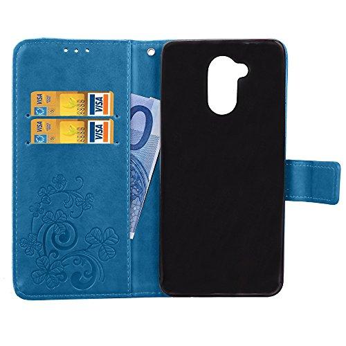 Double Magnetic Back Sucktion Retro Style PU Leder Flip Stand Case mit Kickstand und Wallet Beutel Funktion für Huawei Changxiang Genießen Sie 6S ( Color : Gray ) Blue