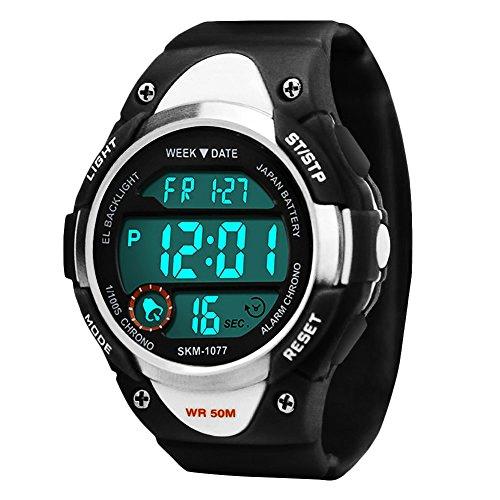 Kinder Sports Digital Uhren für Jungen, 5 ATM Wasserdicht Outdoor Sport Uhr mit Alarm/LED-Licht/Datum/Stoppuhr, Elektronische Armbanduhr für Junior Jugendliche Kinder