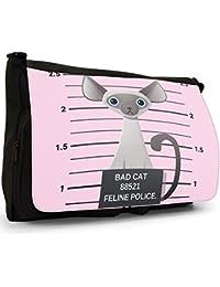Preisvergleich für Gegenüberstellung Polizei böse unartige Katzen Große Messenger- / Laptop- / Schultasche Schultertasche aus schwarzem...