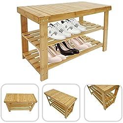 Ligero y robusto organizador estantería y banco de bambú.
