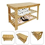 Mobile per Scarpe Scaffale Panca bambù 100%, 2 ripiani Sgabello di Legno organizzatore 70 x 28 x 45 cm