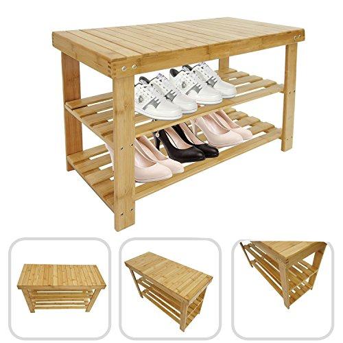 Todeco - Organizador de Zapatos de Bambú, Unidad de Estantería de Bambú de 3 Niveles - Material: Bambú - Peso: 3,7 kg - 70 x 45 x 28 cm