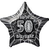 """Unique Party - Globo foil cumpleaños """"Happy 50th Birthday"""", color negro brillante, 50 cm (55153)"""