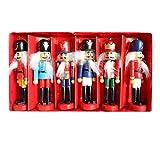 Surenhap Nussknacker Puppet, 12 cm Nussknacker Soldat Figuren Puppen als Geburtstagsgeschenk Spielzeug Weihnachtsbaum-Ornamente Weihnachtsschmuck, 6pcs
