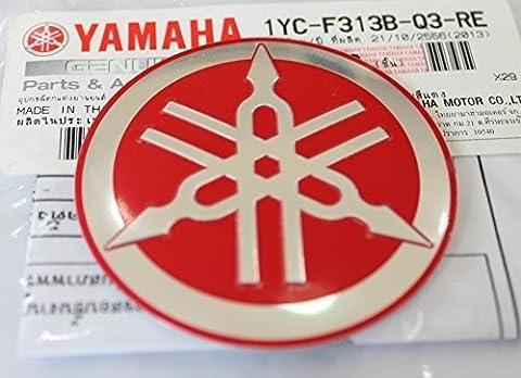 100% GENUINE 55mm Diamètre YAMAHA TUNING FOURCHE Autocollant Emblème Logo ROUGE / ARGENT surélevé bombé Alliage Métallique Construction Autoadhésif Moto / Jet Ski / ATV / Motoneige