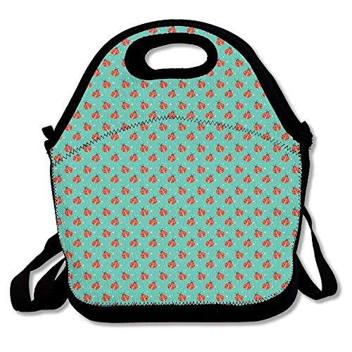 Fgrygf cute ladybugs with little star motifs spring nature pattern on blue background super lunch bag tote for school work outdoor high quality