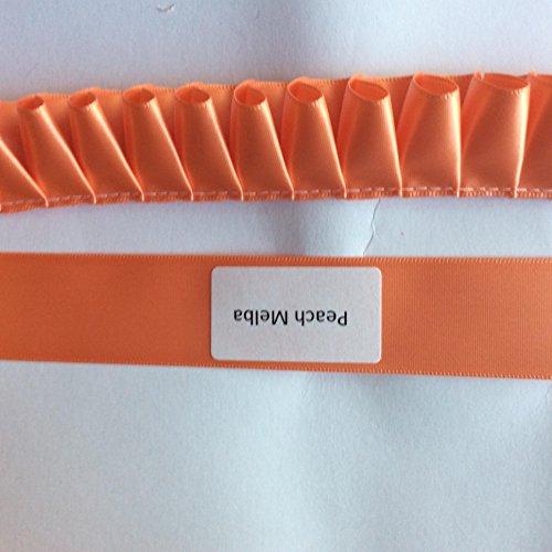 38mm Box Plissee Polyester Satinband–1Meter (50+ Farben/) Pfirsich Melba (Plissee Pfirsich)