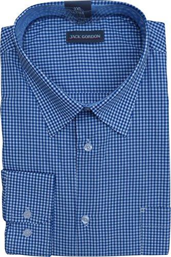 Herren Hemden Oberhemden Langarm Kentkragen Karo oder Streifen 8006 Karo Blau/Weiss