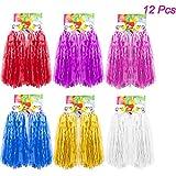 Creatiees 12 pièces Prime Cheerleading Pom Poms Pompons, 6 Paires Plastique Pom-Pom Girl Pompons Main Fleurs avec Conception de la Bague pour Le Sport Spirit Cheering Ballon Danse (Mixte Couleurs)