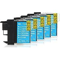 5 Cartucce Per Stampanti compatibile con Brother LC-1100 (Ciano)