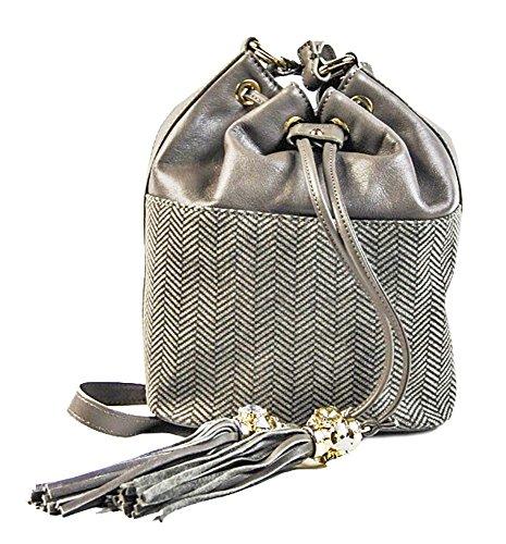 Borsa donna Collezione Argento Antico by Laino Industry fashion accessories  - Borsa sacchetto pelle e tessuto 76831a919d5