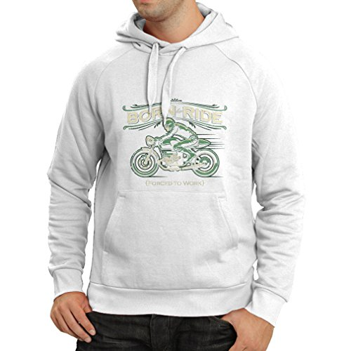Kapuzenpullover Born to Ride, Forced to work - saying shirts for motorcyclists (XXX-Large Weiß (Kostüm Bauingenieur)