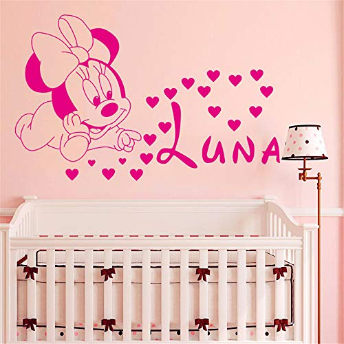 Wandtattoo Kinderzimmer Mickey Maus Wandaufkleber Aufkleber Dekoration Kreative Diy Nette Mickey Maus Minnie Baby Benutzerdefinierte Kinder Name Baby für Kinderzimmer (Diy Maus-dekoration Minnie)