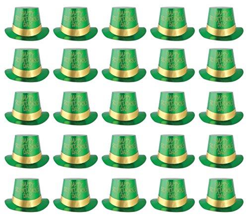 Beistle Glittered St. Patrick's Day Folie Hi-Hats 25-teilig grün/gold