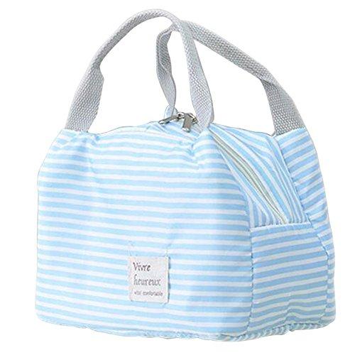 Rieovo 2017pranzo borse per donne floreale a strisce contenitore termico per pranzo picnic, Kids uomo Cooler Tote Blue Stripes