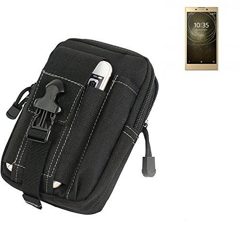 K-S-Trade Gürtel Tasche für Sony Xperia L2 Dual-SIM Gürteltasche Schutzhülle Handy Hülle Smartphone Outdoor Handyhülle schwarz Zusatzfächer