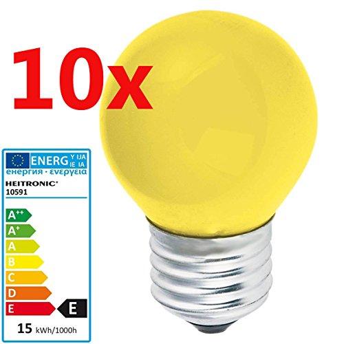 10 Stück Glühlampe GELB 15 Watt E27 farbig Birne Deko Lampe Leuchte Glühbirne